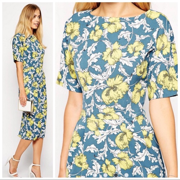 2375adaa0e972 ASOS Dresses & Skirts - ASOS Soft Wiggle Dress in Floral Wallpaper Print